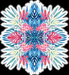 Watercolor Tropical Leaves, Flowers, Pineapple Arrangement Sticker