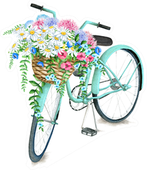 Watercolor Turquoise Bicycle With Beautiful Flower Basket Sticker
