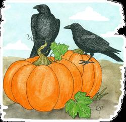Watercolor Two Crows On A Pumpkin Sticker