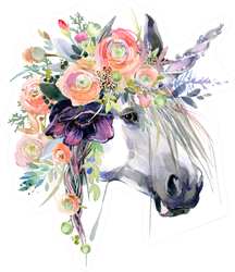 Watercolor Unicorn Illustration White Horse In Flower Wreath Sticker