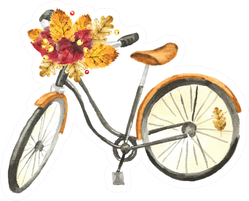 Watercolor Vintage Bicycle With Autumn Leaves Bouquet Sticker