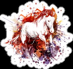 Watercolor White Horse Sticker