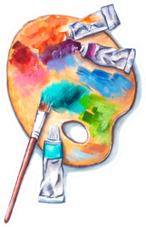 Watercolor Wooden Palette With Tubes Of Paints Sticker