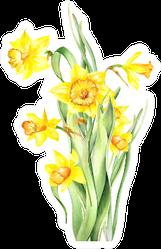 Watercolor Yellow Daffodil Bouquet Sticker