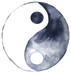 Watercolor Yin Yang Symbol Sticker