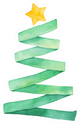 Watercolour Illustration Of Green Ribbon Christmas Tree Sticker
