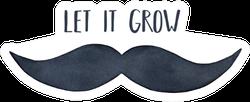 Watercolour Silhouette Of Man Mustache Let It Grow Sticker
