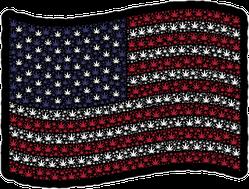 Waving American Cannabis Flag Sticker