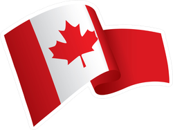 Waving Canadian Flag Sticker