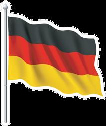 Waving German Flag On Pole Sticker