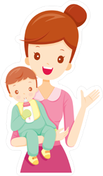 Waving Mother and Baby Sticker