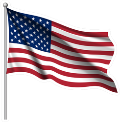 Waving National Flag Of United States Of America Sticker