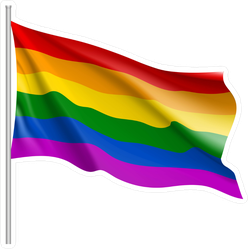 Waving Rainbow LGBT Flag Sticker