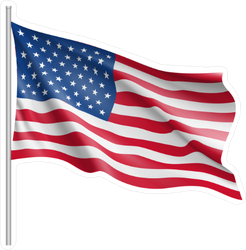 Waving United States Of America Flag Sticker