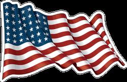 Waving USA 48 Star Flag Sticker