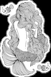 Wavy Mermaid Illustration Sticker
