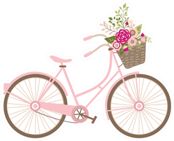 Wedding Bicycle With Flowers Sticker