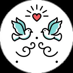 Wedding Doves Love Birds Icons Sticker