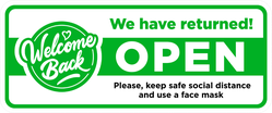 Welcome Back We're Open Sticker