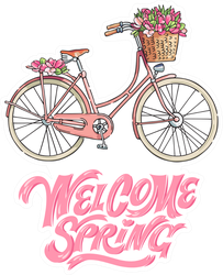 Welcome Spring Pink Bicycle Sticker