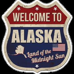 Welcome To Alaska Land Of The Midnight Sun Sticker