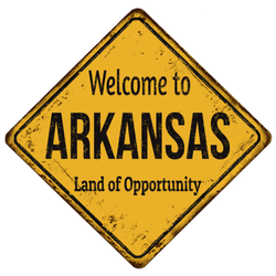 Welcome To Arkansas Land Of Opportunity Yellow Sign Sticker