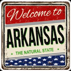 Welcome To Arkansas Vintage Metal Sign Sticker