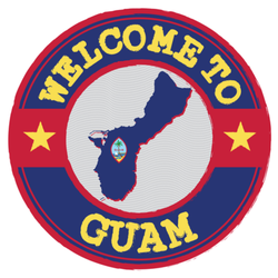 Welcome To Guam With Map Outline Sticker