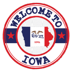 Welcome To Iowa With Map Outline Sticker