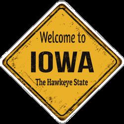 Welcome To Iowa Yellow Diamond Sign Sticker