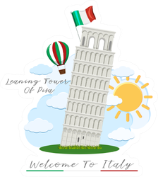Welcome To Italy Leaning Tower Of Pisa Sticker