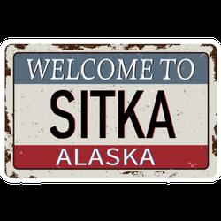 Welcome To Sitka Alaska Vintage Rusty Metal Sign Sticker