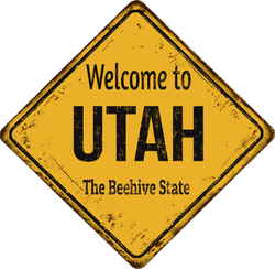Welcome To Utah Road Sign Sticker