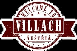 Welcome To Villach Austria Brown Ribbon Stamp Sticker