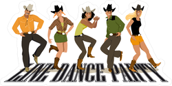 Western Country Line Dancing Stickers