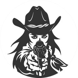 Western Girl With Revolver Sticker