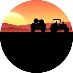 Wheat Field At Night With Tractor Carrying Hay Sticker