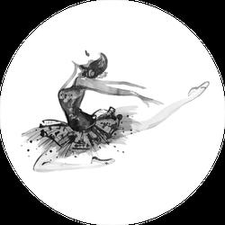 White and Black Watercolor Ballerina Sticker