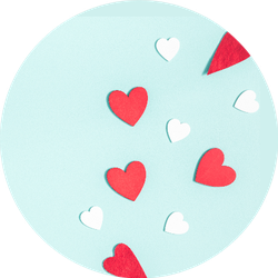 White And Red Hearts On Pastel Blue Sticker