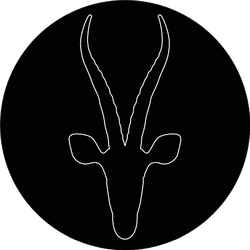 White Antelope Silhouette On Black Sticker