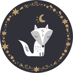 White Arctic Fox Kit At Night Sticker