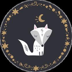 White Arctic Fox Kit At Night Sticker