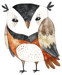 White, Black and Brown Watercolor Owl