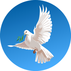 White Dove On A Blue Background Beautiful Illustration Sticker