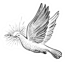White Dove With Olive Branch And Rays Line Sketch Sticker