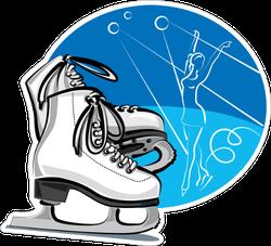 White Figure Skates Sticker