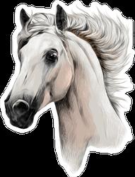 White Horse Head Profile Sticker