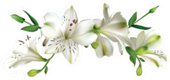 White Lily  Flowers On A Branch Sticker