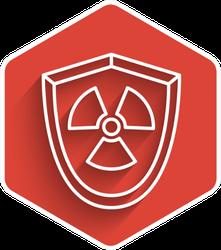 White Line Radioactive In Shield Icon Red Sticker