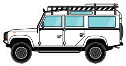 White Off Road Vehicle with Racks Sticker